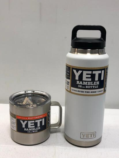 2 YETI Items; 36oz Rambler Bottle (White), Stainless Steel 14oz Rambler Mug