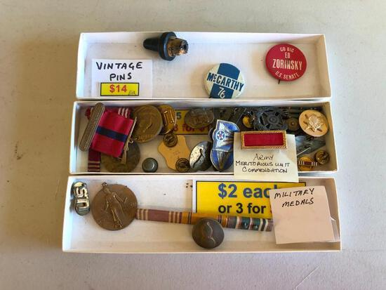 Vintager Lot of Military Awards, Decorations, Pins, Political Pins