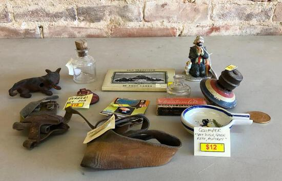 San Francisco Souvenir Post Cards, Emmett Kelly Statue, Corn Husks, Ferrari Key Fob, Misc.