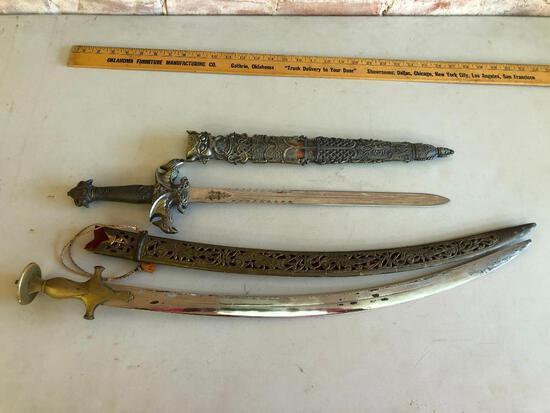 Lot of 2 Ornate Modern Swords w/ Fancy Metal Sheaths