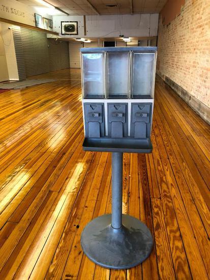 Coin-Op Candy, Gun or Peanut 3 Well Vending Machine on Pedestal, No Key