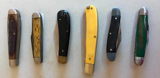 Six Vintage Pocket Knives, Old Timer, Sabre, Shelham