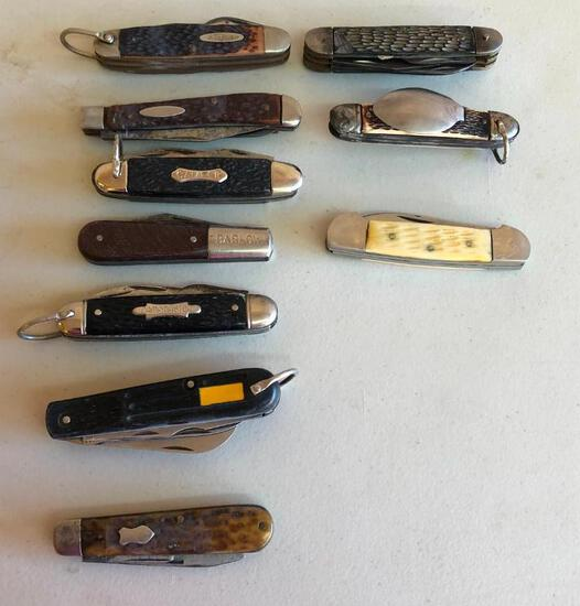 Lot of 10 Vintage Pocket Knives, KABAR, BARLOW, Others