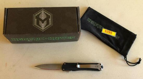 Heretic Knives Auto Open H024-5A Manticore-S DE Battleworn S/N 00022 USA Very Nice w/ Orig. Box,