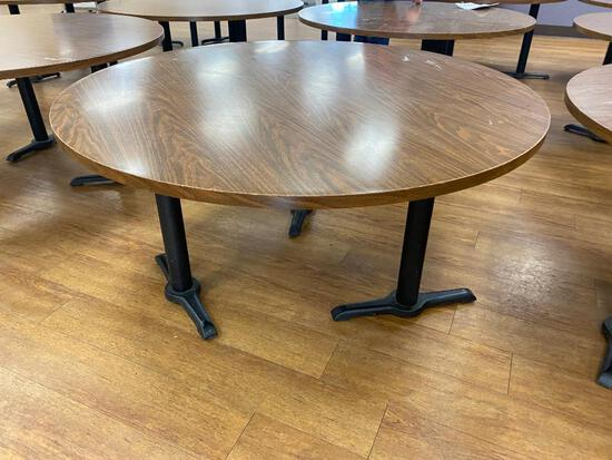 Laminate Top Restaurant Table w/ Pedestal Bases, 72in Diameter