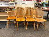 Solid Wood Windsor Style Kitchen Chairs, Set of 7