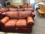 Leather Overstuffed Furniture Set, Couch, Sofa and Chair, Distressed, Clean