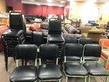 Six Matching Vintage Metal Frame Chairs w/ Padded Black Seats & Backs, Mid-Century