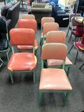 Mid-Century Modern Chairs, Metal Frames, Padded Seats/Backs, Set of 4 and 2