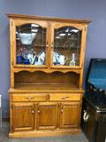 Solid Wood China Hutch w/ Etched Glass Doors, Lots of Storage 77in x 48in x 17in