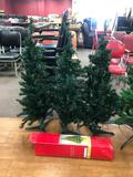 Set of 3 Pre-Lit Smaller Christmas Trees w/ Stands, Approx. 3 Ft Tall