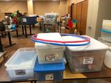 8ft Banquet Table w/ Totes, Bead Containers, Bucket w/ Lid & 2 Hula Hoops