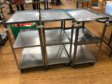 Lot of 3 Rolling Stainless Steel Carts, w/ Dents, 32in x 24in x 16in