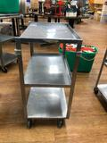 Stainless Steel Rolling Metal Utility Cart Approx. 24in x 16in x 32in