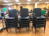 Stack of 15 Wide Width Arm Chairs, Lots of Wear, Some Tears, Missing Arm Pad Here and There