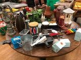 Home Decor Lot; Vases, Statues, Decorations, Party Lite Tea Candle Beaded Rings, Xylophone, Dice,