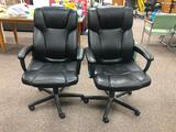Lot of 2 Office Chairs by Global Furniture, Mfg. 09/18 - Fixed Arms, Padded, Rolling, Adj. Height