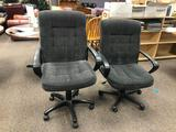 Lot of 2 Office Chairs, Matching, Fixed Arms, Adjustable Height, Padded Upholstery