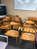 Vintage Solid Wood Chairs, 8 Spindles and Curved Backs, Tapered Legs, Solid