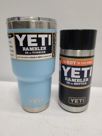 (2) YETI Rambler 30 oz Bottle Sky Blue & YETI 12 oz Bottle Black