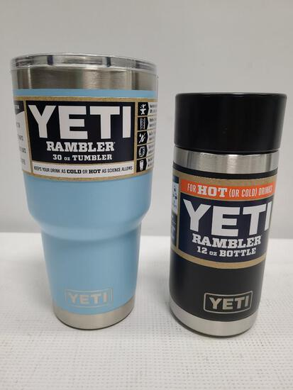 (2) YETI Rambler 30 oz Bottle Sky Blue & YETI 12 oz Bottle Black
