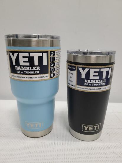 (2) YETI Rambler 30 oz Bottle Sky Blue & YETI 20 oz Tumbler Black