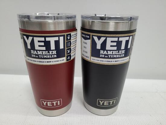 (2) YETI Rambler 20 oz Tumblers - Brick Red & Black