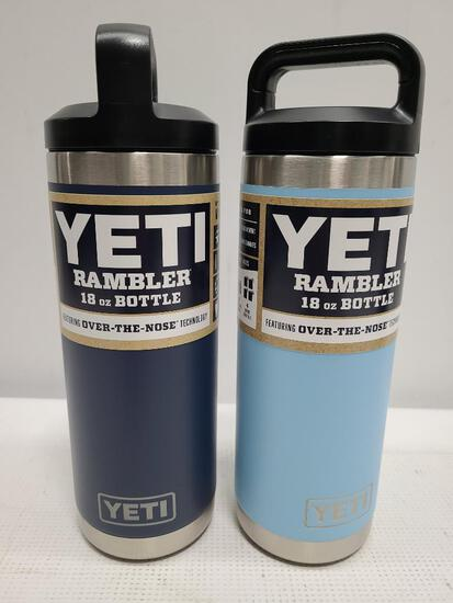 (2) YETI Rambler 18 oz Bottles - Navy & Sky Blue