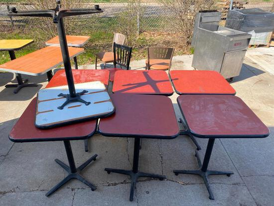 Lot of 7 Restaurant Tables, Single Pedestal, Laminate Top, 24in x 24in