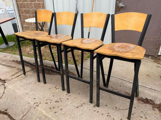 Lot of 4 Bar Stools, Metal Frames, Wooden Seats and Backs, Need to Be Refinished