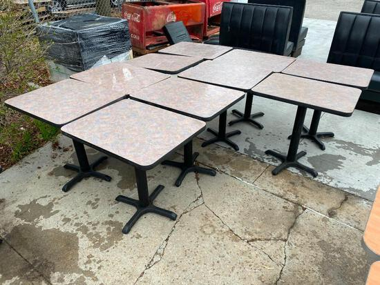 Lot of 10 Restaurant Tables, Laminate Top, Metal Pedestal Base, 24in x 30in
