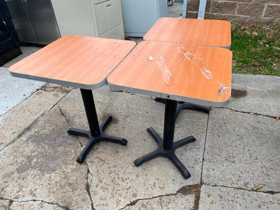 Lot of 3 Restaurant Tables, Laminate Top, Metal Pedestal Base, 24in x 24in