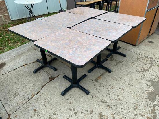 Lot of 6 Restaurant Tables, 24in x 30in, Laminate Top, Iron Pedestal Base