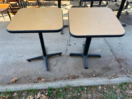 Lot of 2 Restaurant Tables, Single Pedestal, Laminate Top, 24in x 24in