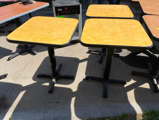 Lot of 3 Restaurant Tables, Single Pedestal, Laminate Top, 24in x 24in