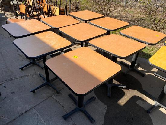 Lot of 9 Restaurant Tables, Single Pedestal, Laminate Top, 24in x 24in