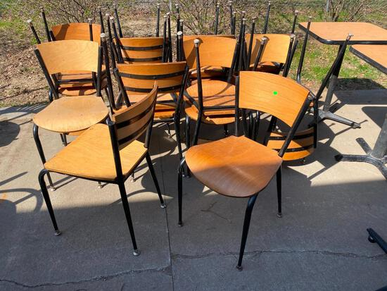 Lot of 17 Restaurant Chairs, Metal Frame, Wooden Seat & Back