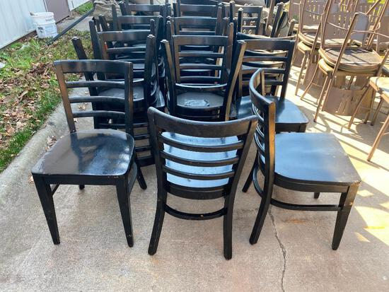 Lot of 20 Ladder Back Restaurant Chairs, Solid Wood Frame, Seat and Back