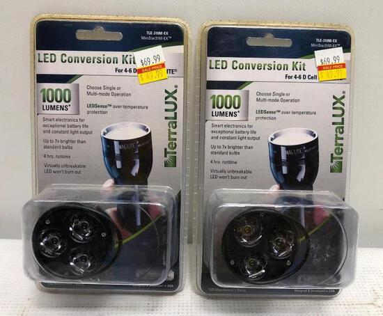 2 Items, Terralux LED Conversion Kit 1000 Lumens 4-6 D Cell Flashlights Only