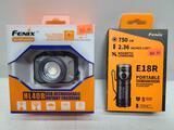 (2) Fenix Flashlights - HL40R Head Lamp 600 Lumens & E18R Portable 750 Lumens