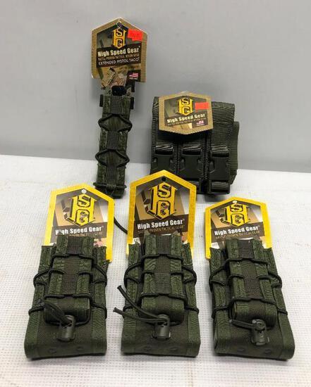 (5) HSG Magazine Pouches - (3) Double Decker Taco Pouches, Extended Pistol Taco & Triple