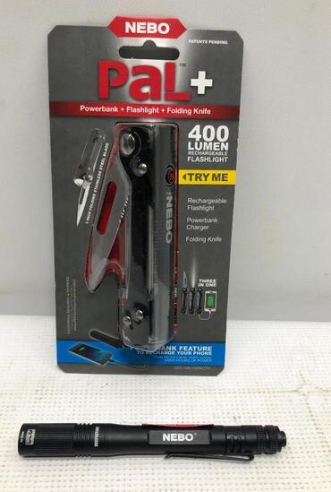 (2) NEBO - PAL+ Power Bank Folding Knife w/ 400 Lumens Flash Light & 180 Lumens Inspector IP67