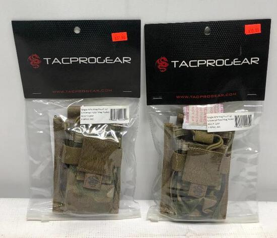 (2) Tacprogear Single Rifle Mag Pouches w/ Universal Pistol Mag Pocket