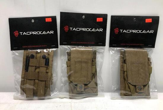 (3) Tacprogear Staggered Rifle Mag Pouches - Coyote