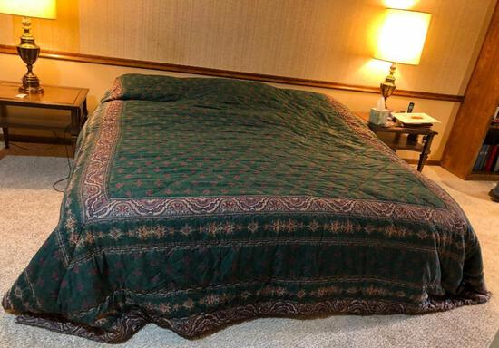 King Size Bed Frame w/ Mattress & Box Spring & Bedding, Clean