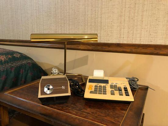 Brass Desk Lamp, Vintage Pencil Sharpener and Adding Machine