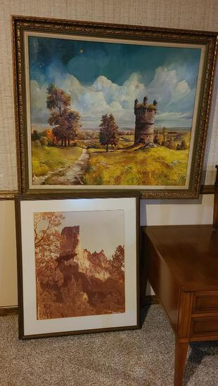 Lot of 2 Pictures, Painting by Jan May w/ Some Missing Paint 40in x 36in, Framed Photo Judith Ann