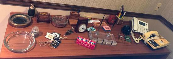 Small Collectibles, Lucite Desk Set w/ 2 Pens, Clocks, Ashtrays, Phones, Table Lighter, Misc.