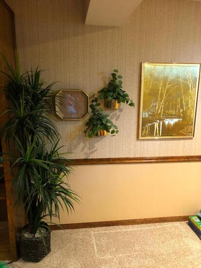 J. Hardelin Print w/ Brass Looking Wall Clock and Wall Pockets and Artificial Plant