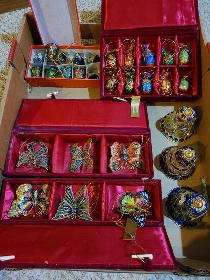 Cloisonne Collectibles and Decorations, Birds, Bells, Butterflies, Christmas